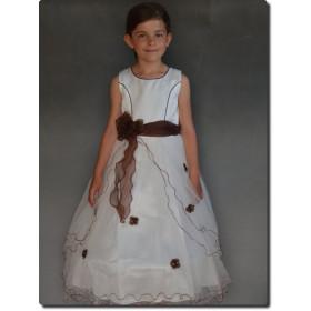 Robe de cérémonie fille choco organza ZOÉ