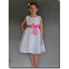Robe de cortège fille blanche et rose SABINE
