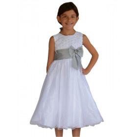 Robe de cortège enfant blanche et grise SABINE