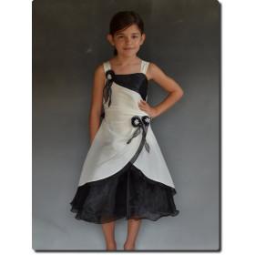 Robe de cérémonie fille écru et noir LINA
