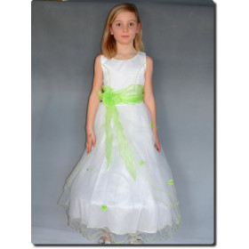 Robe de cérémonie fille vert anis ELISA